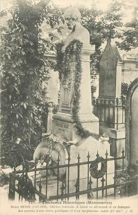 """CPA FRANCE 75018 """"Paris, Cimetière Montmartre, monument d'Henrich Heine"""""""
