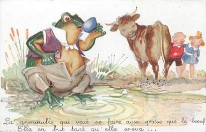 """/ CPA ILLUSTRATEUR MAUZAN """"La grenouille qui veut se faire aussi grosse que le boeuf"""""""