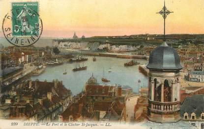 """/ CPA FRANCE 76 """"Dieppe, le port et le clocher Saint Jacques"""""""