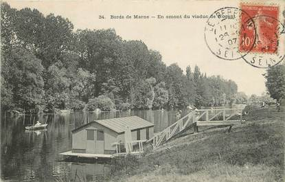 "/ CPA FRANCE 94 ""Bords de Marne, en amont du viaduc de Nogent"""