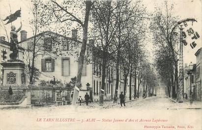 """/ CPA FRANCE 81 """"Albi, Statue Jeanne D'arc et av Lapérouse"""""""