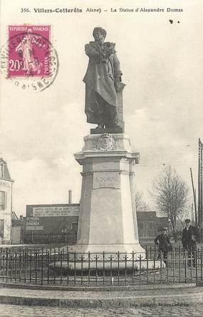 """CPA FRANCE 02 """"Villers Cotterets, la statue d'Alexandre Dumas"""" / STATUE"""