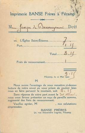 """/ CPA FRANCE 76 """" Fécamp, imprimerie Banse Frères"""" / CARTE PUBLICITAIRE"""