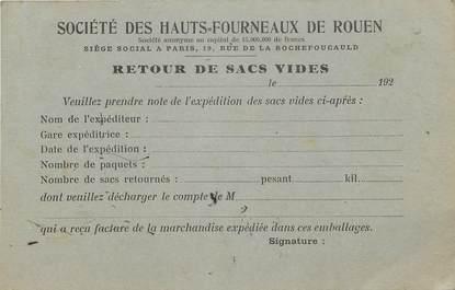 """/ CPA FRANCE 76 """"Grand Quevilly, société des Hauts Fourneaux de Rouen"""" / CARTE PUBLICITAIRE"""