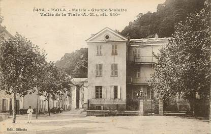 "/ CPA FRANCE 06 ""isola, mairie, groupe scolaire"""