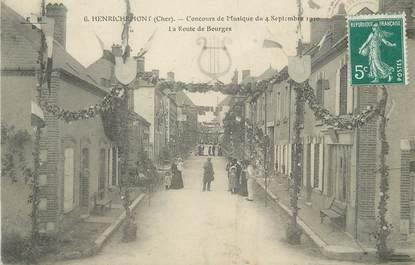"""/ CPA FRANCE 18 """"Henrichemont, concours de musique du 4 septembre 1910, la route de Bourges"""""""