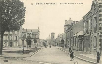 "/ CPA FRANCE 51 ""Epernay Magenta, rue Paul Gravet et la place"""