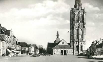 """/ CPSM FRANCE 27 """"Verneuil sur Avre, place de l'église et tour de la Madeleine"""""""