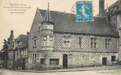"""/ CPA FRANCE 27 """"Verneuil, maison du XVème siècle avec tourelle"""""""