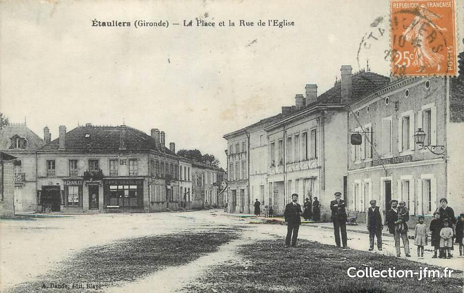 Cpa france 33 etauliers la place et la rue de l 39 glise for Saint denis de pile 33