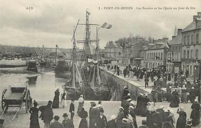 """/ CPA FRANCE 14 """"Port en Bessin, les bassins et les quais un jour de fête"""""""