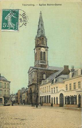 "/ CPA FRANCE 59 ""Tourcoing, église Notre Dame"""
