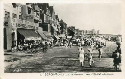 "/ CPSM FRANCE 62 ""Berck plage, l'esplanade"" / COMMERCE"