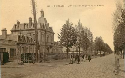 """/ CPA FRANCE 95 """"Persan, l'avenue de la gare et la mairie"""""""