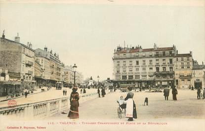"""CPA FRANCE 26 """"Valence, terrasse Championnet et place de la République"""""""
