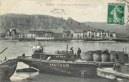 """CPA FRANCE 26 """"Valence, le Rhone et les villas des Granges"""" / BATELLERIE"""