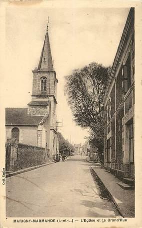 "/ CPA FRANCE 37 ""Marigny Marmande, l'église et la grande rue"""