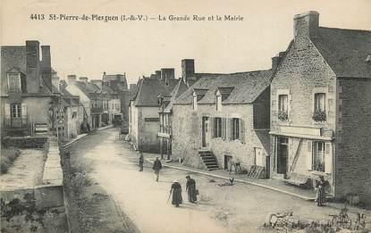 """/ CPA FRANCE 35 """"Saint Pierre de Plesguen, la grande rue et la mairie"""""""