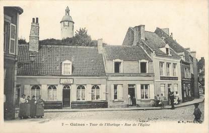 """/ CPA FRANCE 62 """"Guines, tour de l'horloge, rue de l'église"""""""