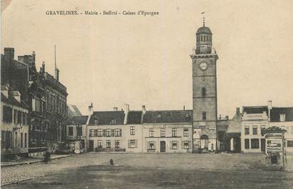 """/ CPA FRANCE 59 """"Gravelines, mairie, Beffroi, Caisse d'épargne"""" / CE / BANQUE"""