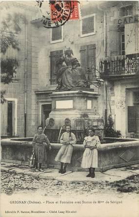 """CPA FRANCE 26 """"Grignan, Statue de Mme de Sévigné"""""""