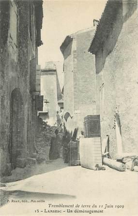 """CPA FRANCE 13 """"Lambesc, tremblement de terre 1909, un déménagement"""""""