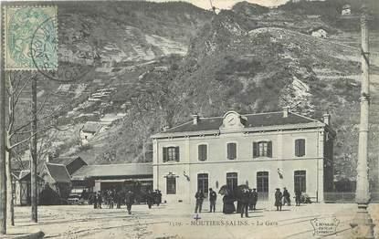 "/ CPA FRANCE 73 ""Moutiers Salins, la gare"""