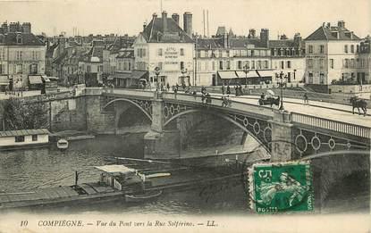 "CPA FRANCE 60 ""Compiègne, vue du pont vers la rue Solférino"""