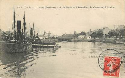 "CPA FRANCE 56 ""Lorient, le bassin de l'avant port du Commerce"""