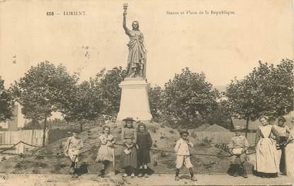 """CPA FRANCE 56 """"Lorient, statue et place de la République"""""""