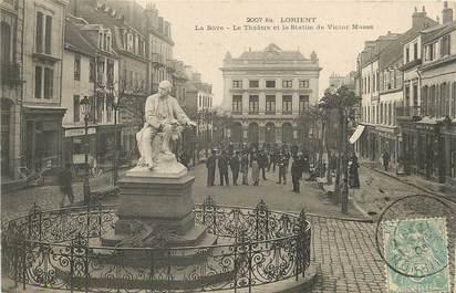 """CPA FRANCE 56 """"Lorient, la Bôve, le théatre et la statue de Victor Massé"""""""