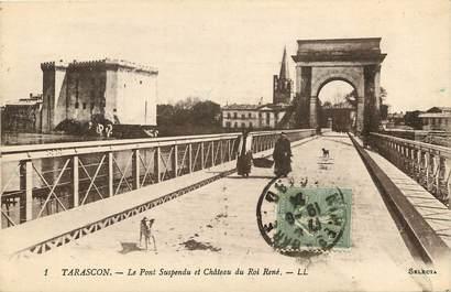 """CPA FRANCE 13 """"Tarascon, le chateau du roi René et le pont suspendu"""""""