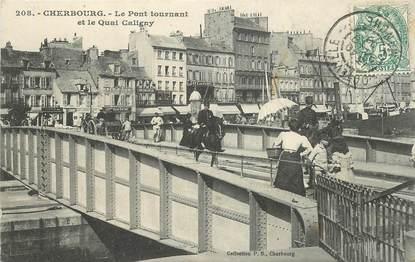 """CPA FRANCE 50 """"Cherbourg, le Pont tournant et le quai Caligny"""""""