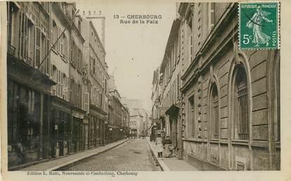 """CPA FRANCE 50 """"Cherbourg, rue de la Paix"""""""