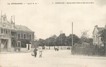"""CPA FRANCE 50 """"Carentan, Entrée de la ville et rue de la Gare"""""""
