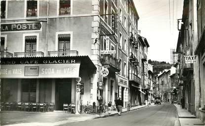 """CPSM FRANCE 07 """"Vals les Bains, Hotel de la Poste et rue Jean Jaurès"""""""