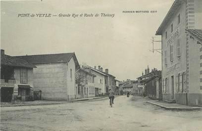"""/ CPA FRANCE 01 """"Pont de Veyle, grande rue et route de Thoissey"""""""