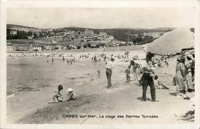 """CPSM FRANCE 13 """"Cassis, la plage des pierres tombées"""""""