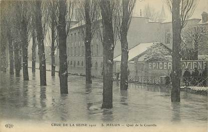 """CPA FRANCE 77 """"Melun, inondations 1910, Quai de la Courtille"""""""