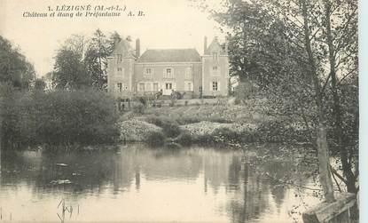 """CPA FRANCE 49 """"Lézigné, chateau et étang de Préfontaine"""""""