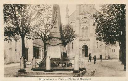 "CPA FRANCE 17 ""Mirambeau, place de l'Eglise et monument aux morts"""