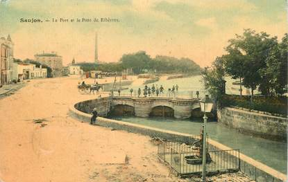 """CPA FRANCE  17 """"Saujon, le port et le pont de Ribéraux"""""""