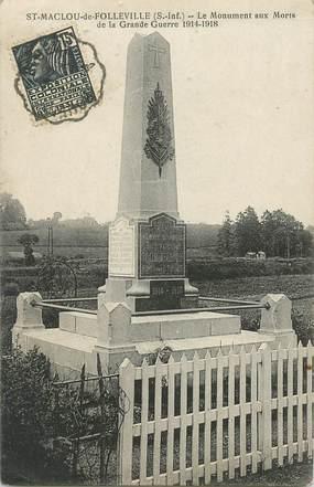 """CPA FRANCE  76 """"Saint Maclou de Folleville, le monument aux morts"""""""