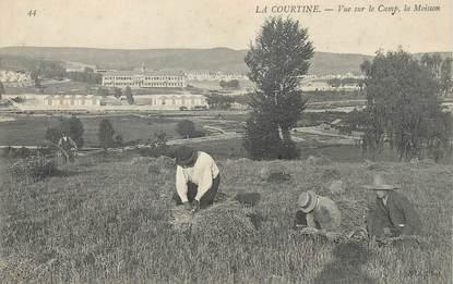 """/ CPA FRANCE 23 """"La Courtine, vue sur le camp, la moisson"""""""