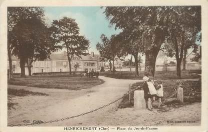 """/ CPA FRANCE 18 """"Henrichemont, place du jeu de Paume"""""""