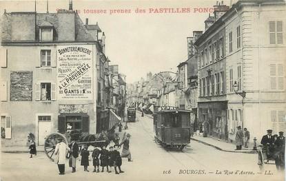 """/ CPA FRANCE 18 """"Bourges, la rue d'Auron"""" / TRAMWAY / CARTE PUBLICITAIRE"""