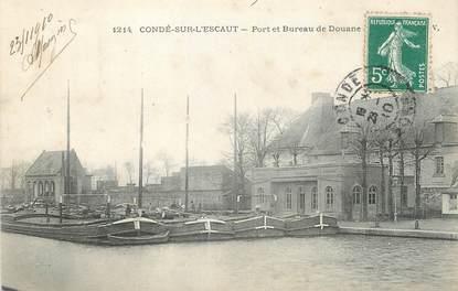 """/ CPA FRANCE 59 """"Conde sur Escaut, port et bureau de douane"""" / PENICHE"""