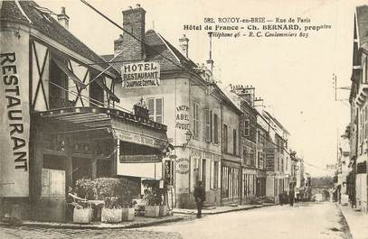 "CPA FRANCE 77 ""Rozoy en Brie, rue de Paris, Hotel de France"""