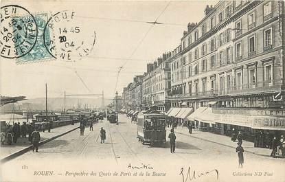 """CPA FRANCE 76 """"Rouen, Quais de Paris et de la Bourse"""""""