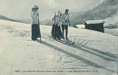 "CPA SKI ""dans les Alpes, les débuts en ski"" / TELEMARK"